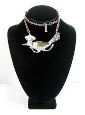 """BIG ROADRUNNER Bird NECKLACE Vintage GOLD CROWN INC  Silvertone Goldtone 24"""""""