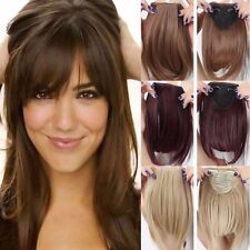 UK Real Thick Straight Bang Clip in on Fringe Hair Extensions 2Clips Hairpiece A