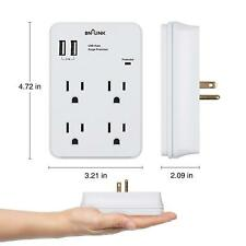 BN-LINK Wall Mount Adapter Surge Protector with 4 AC Outlets and 2 USB Outlets