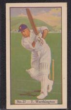 Allen's Cricketer 1938 No.27 T. Worthington - Derbyshire - Steam Rollers Back