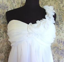 White party wedding dress by CHERLONE Size 10 NWT One ruffled shoulder