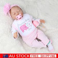 """22"""" Lifelike Baby Doll Silicone Vinyl Reborn Newborn Boy Sleeping Dolls+Clothes"""