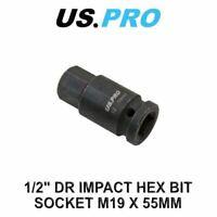 "US PRO Tools 1/2"" DR Impact Hex Bit Socket M19 X 55mm 3324"