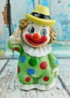 Vintage Porcelain Clown Figurine Bell