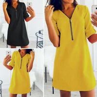 Mode Femme Coton Casual Loisir Manche Longue Poche Droit Jupe Robe Mini Plus