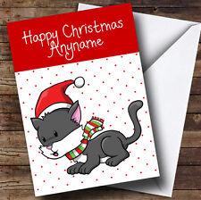 Spotty Niños Gato Gris Oscuro Tarjeta de Navidad Personalizado