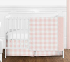 Blush Pink White Buffalo Plaid Check Baby Girl Bumperless 4pc Crib Bedding Set