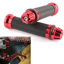"Red Motorcycle Hand Grips 7/8"" Bar End Cap Plug For Honda Suzuki Yamaha Ducati"