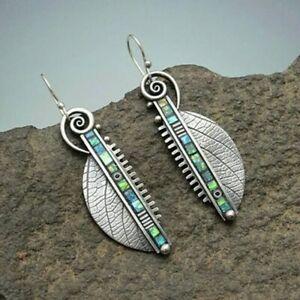 Unusual Resin Wing Earrings Dangle Stone Metal Ethnic Vintage Jewellery
