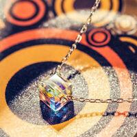 "3.0 Ct with Swarovski Crystal Aurora Borealis Necklace 18"" Silver ITALY"