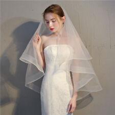 "Horsehair Veil Wedding 2 Tiers Fingertip Length Blusher Veil  2"" Horsehair Trim"