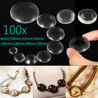 100X Flat Back Transparent Half Round Clear Glass Domed Cabochons Cover  !