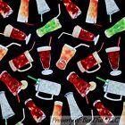 BonEful Fabric FQ Cotton Quilt Black Bar Beer Red Green White Drink Soda Ice Tea