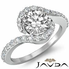 1.35ct Round Diamond Engagement Curve Shank Ring GIA F Color VVS2 14k White Gold