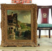 Unles. Sign Oil Painting Antique Mill Landscape Canvas Heinrich Zech Munich