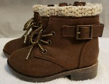 Baby-Infants Girls BROWN WINTER FASHION BOOTS Crochet Trim LACE UP ZIPPER Size 5