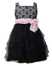 New Girls Bonnie Jean 10 Black Pink LACE Cascade Ruffle Dress Special Occasion