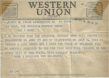 1949 WESTERN UNION TELEGRAM SENATOR JOHN J WILLIAMS DE TED MACK AMATEUR HOUR