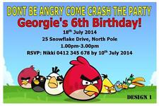 20 x ANGRY BIRDS CHILDRENS PERSONALISED BIRTHDAY INVITATIONS + FREE MAGNETS