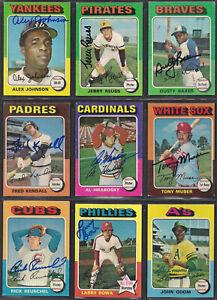 Lot of 9 Signed 1975 Topps Baseball cards-Johnson Reuss Baker Bowa Odom Muser