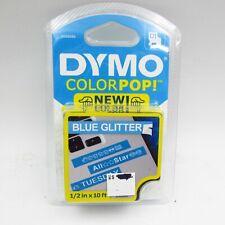 New Dymo Colorpop Authentic Label Maker Tape D1 White Print On Blue Glitter