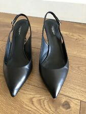 dolce gabbana black leather slingback shoes size 7 used -good with cover bag