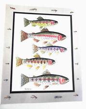 Vintage Fish Art Print Trout Water Color by: Paul Roberts * Vibrant Colors.