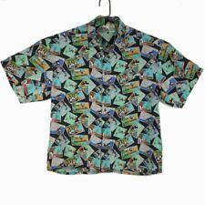 The Disney Store 100% Silk Mens Xl Hawaiian Shirt Mickey Donald Comics Vintage