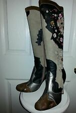 Sam edelman june boots suede leather embroidered pony fur metallic boots 7.5