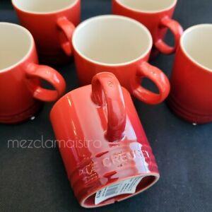 SET New Le Creuset Second Choix Espresso Mug Cup petite Cerise Red 100ml 3.5 oz