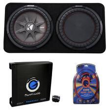 "Kicker 43TCWRT124 1000W 12"" 4-Ohm Slim Subwoofer with Box, Amplifier, & Amp Kit"
