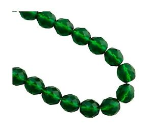 20 Dark Rich Green Fire Polished Czech Glass 10mm Faceted Round Beads