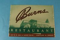 VINTAGE 1948 BURNS SOUVENIR RESTAURANT DINNER MENU PORTLAND, OREGON