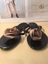 Valentino black nude L6 R7 jelly rose slide thong sandal shoe New $295 MISMATCH