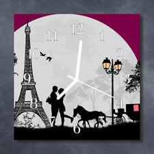 Glass Wall Clock Kitchen Clocks 30x30 cm silent Paris Love Black