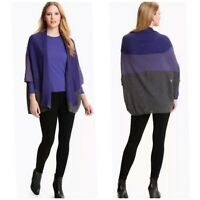 $318 Eileen Fisher Colorblock Royal Alpaca Dolman Sleeve Poncho Purple Cardigan