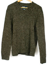 Ralph Lauren Men's Green Wool V-Neck Elbow Patches Knit Sweater Jumper Size Med