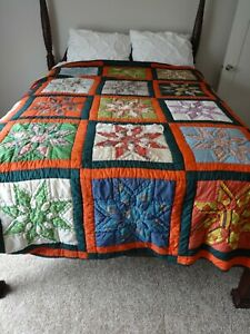 "VINTAGE HANDMADE 8 POINT STAR PATTERN QUILT SIZE 94"" X 96"" QUEEN/KING ""AS-IS"""