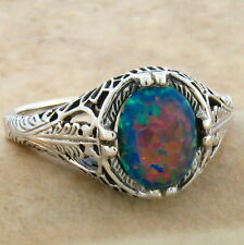 VINTAGE ANTIQUE STYLE .925 STERLING BLACK LAB OPAL SILVER RING SIZE 10,     #803