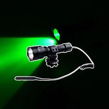 Green Light LED 300LM Hog Hunting Flashlight For Rifle W/Barrel Mount