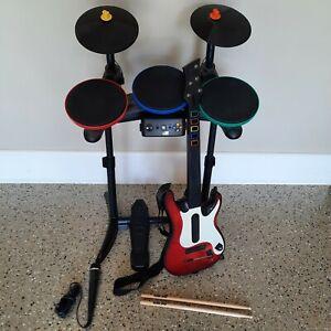 Xbox 360 Rock Band Bundle Drum Kit Set Stratocaster Guitar Hero Microphone Mic