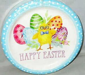"""EASTER LUNCHEON Paper Plates 50 Ct. 8 3/4"""" Dia. HAPPY EASTER/EASTER CHICK"""