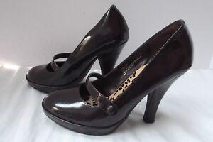 Colin Stuart brn patent leather platform 4.5in heel stiletto mary jane shoe sz 8