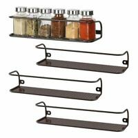 2 Pack, 4 Pack Wall Mount Spice Rack Single Tier Spice Jar Holder For Kitchen