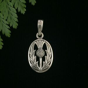 Classic Small Scottish Thistle Sterling Silver 925 Pendant