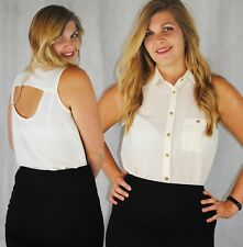 NEW LOOK SLEEVELESS BLOUSE GOLD BUTTONS OPEN BACK BLACK & CREAM 8 10 12 14 16