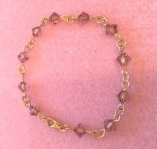 Gold Plated Crystal Element Chain Bracelet with Topaz (Light Brown) Spacers (g)