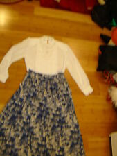 Prairie western Victorian 2 pc white blouse blue print skirt L women