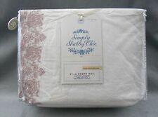 Rachel Ashwell Simply Shabby Chic Mauve Embroidered Hem White Sheet Set Full New