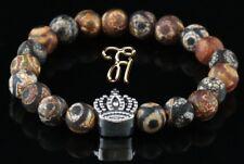 Tibet Agate Braun 0 5/16in Bracelet Pearl Bracelet Silver Coated Crown